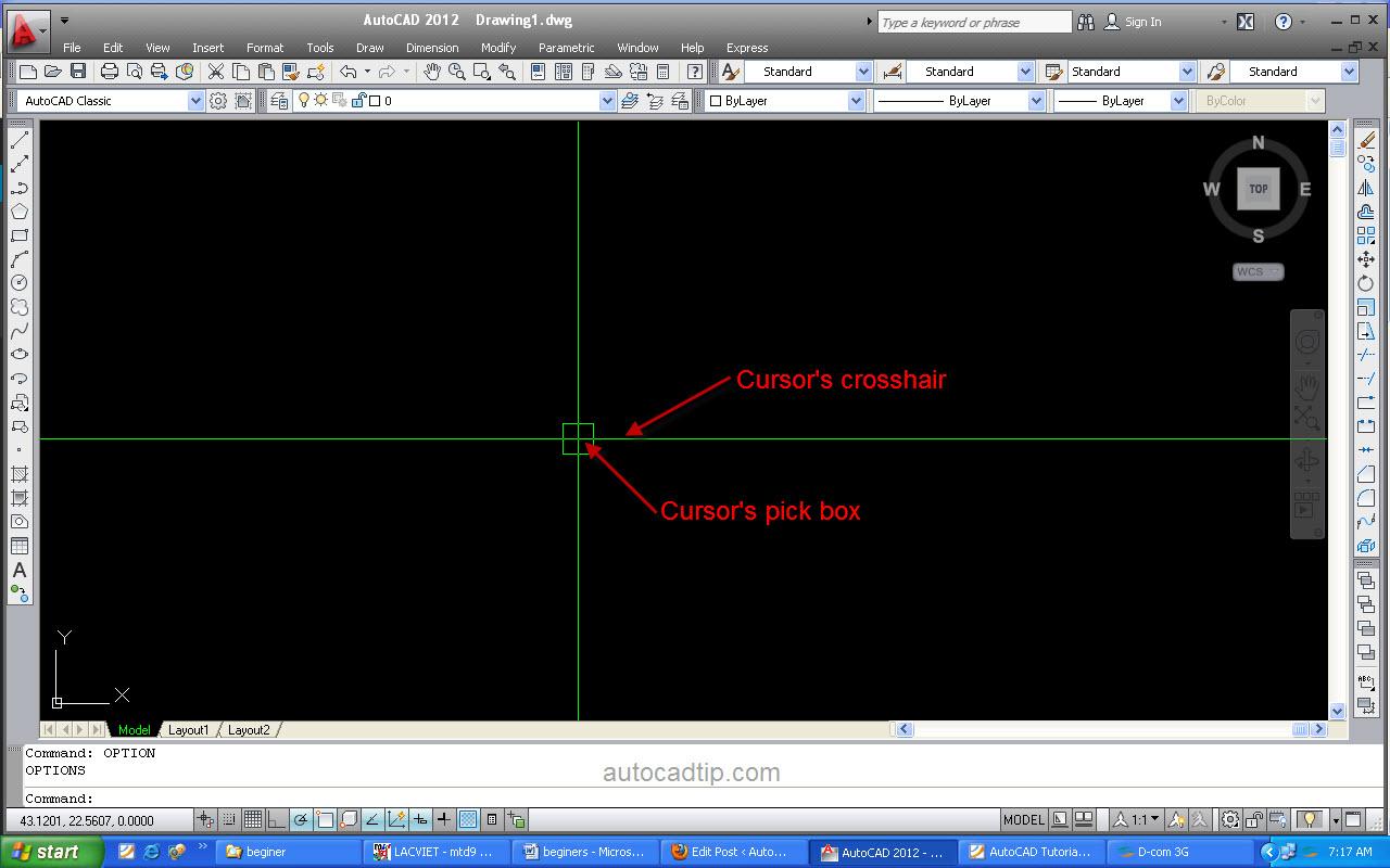 Control cursor AutoCAD 2012