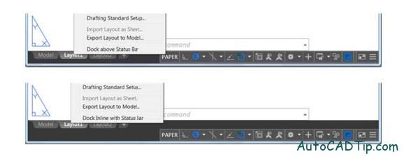 Dock inline with status bar