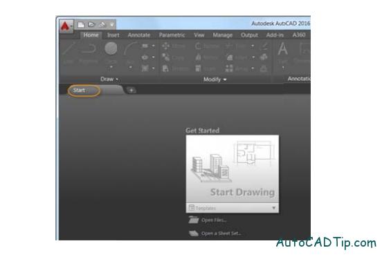 file tabs AutoCAD 2016