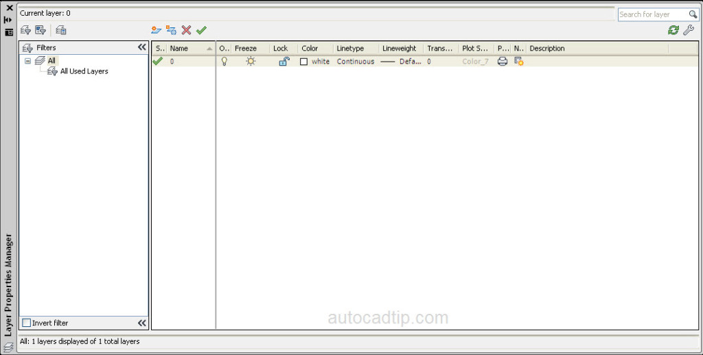 Layer properties manager in AutoCAD