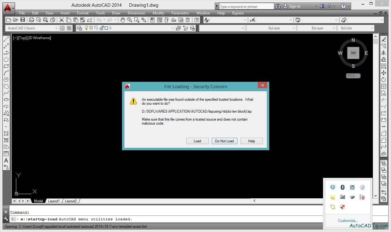 Secureload AutoCAD 2014 when start
